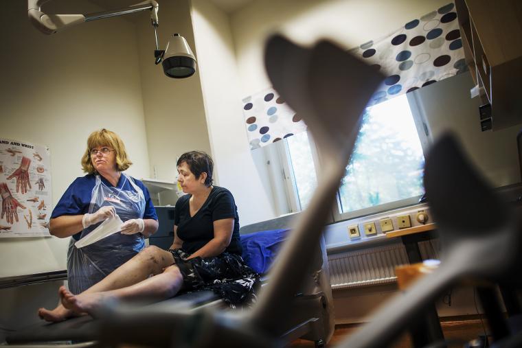 Vårduppföljning på Capio S:t Göran På bild: Ewa Mattson och Lesley Tsegaye